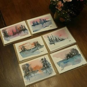 """Hues of Pink"" Original Watercolor Cards Set of 6"